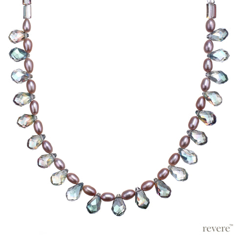 Carnival Necklace | Pearls with Rainbow Crystal