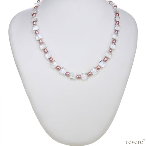 ballerina pink pearl with crystal necklace and earrings set for day wear, evening wear and fun occasions