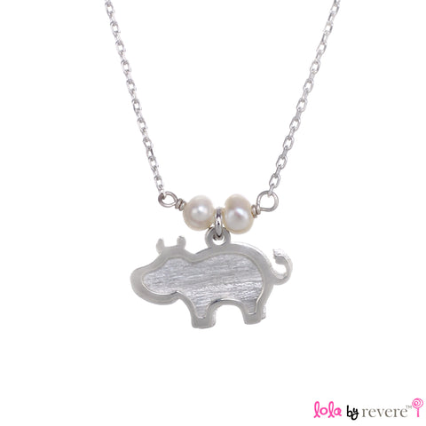 "Sterling Silver Chain with two overlapping cute hippos on a sterling silver pendant embellished with small freshwater white pearls. The chain measures 14.5"" with an adjustable chain of 1"" to increase length to 15.5""."