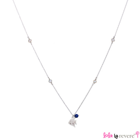 "Sterling Silver Chain with two overlapping delicate fish on a sterling silver pendant embellished with small freshwater white pearls and lapis lazuli representing the colours of the sea. The chain measures 14"" with an adjustable chain of 1"" to increase length to 15""."