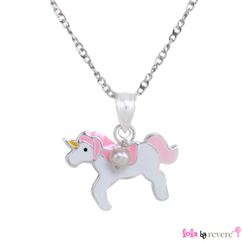 """Eternia"" is a name given to your etermal friend - the unicorn. This piece features a sterling silver pendant in a light pink and dark pink Unicorn design on a delicate sterling silver for little girls."