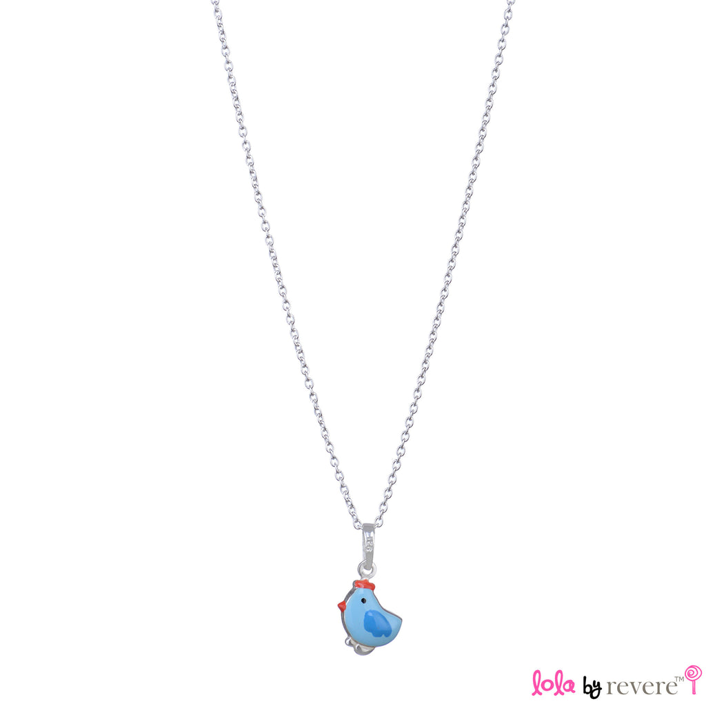 "Sterling Silver light blue chick pendant on a sterling silver chain measuring 14"" and an adjustable chain of 2"" to increase length to 16"". A fun yet stylish accessory for birthday parties and play dates."
