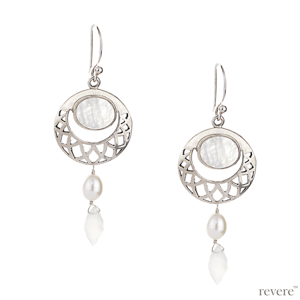 Adorn a charming look with these exquisite earring beautifully embellished with rainbow moonstone and white freshwater pearl delicately suspended on a designer sterling silver drop.