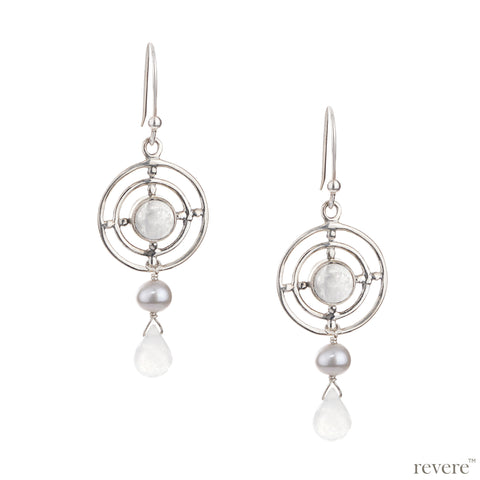 Exquisite earring embellished with rainbow moonstone circumscribing in sterling silver concentric circles with grey freshwater pearl and chalcedony delicately suspended.