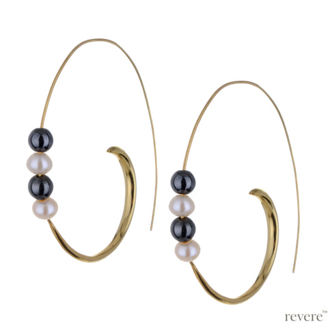 Macaria Earrings | Pearl | Gold Plated | Sterling Silver