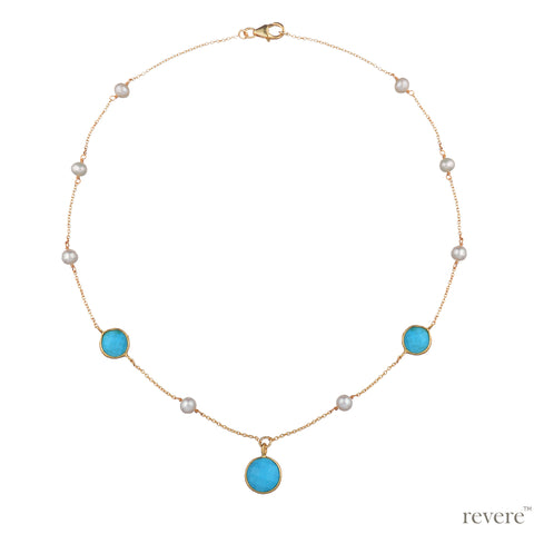 Aquamarine Necklace | Pearl | Turquoise | Gold Plated | Sterling Silver