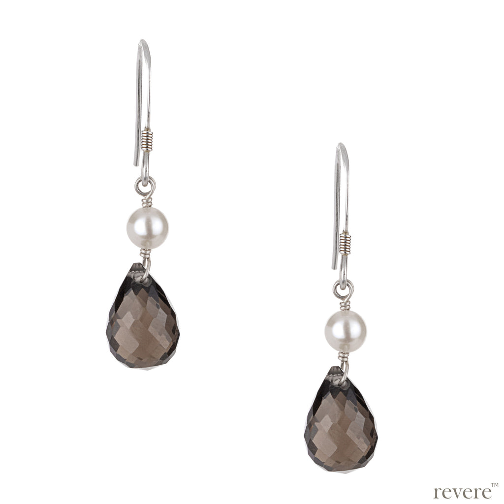 Featuring sterling silver earrings with faceted smoky topaz tear drop and white freshwater pearl.