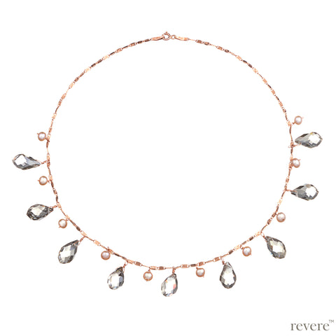 Sprinkle Necklace | Pearl | Crystal | Rose Gold | Sterling Silver