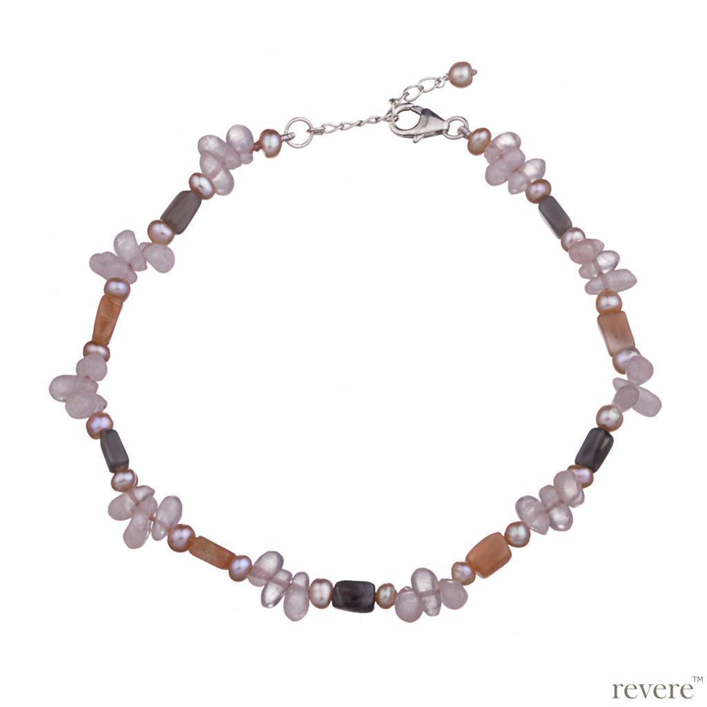 "Anklet features peach freshwater pearl, moonstone and rose quartz beautifully hand-knotted and ends with 1.5"" sterling silver adjustable chain."