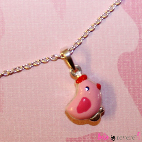 "Sterling silver pink chick pendant on a sterling silver chain measuring 14"" and an adjustable chain of 2"" to increase length to 16"". The pink chickie is too cute and full of attitude."