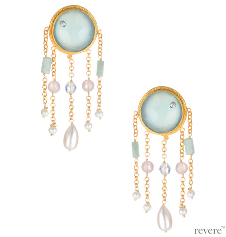 Wanwisa Earrings | Pearl | Chalcedony | Aventurine | Rose Quartz | Gold Plated | Sterling Silver