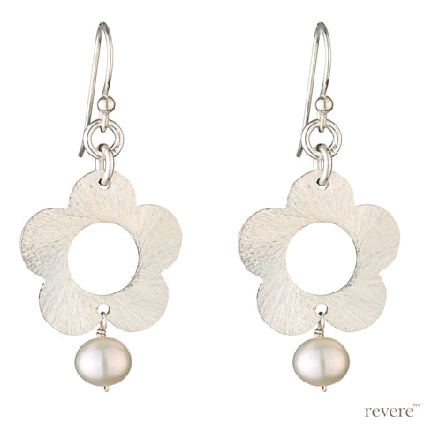 """Jasmine""  features scratch sterling silver earrings with freshwater white pearls, in a delicate flower design."