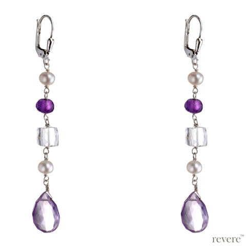 French Summer features amethyst, glass crystal and pearls set in sterling silver earrings. Style with pastels or formals for a subtle stand out look.
