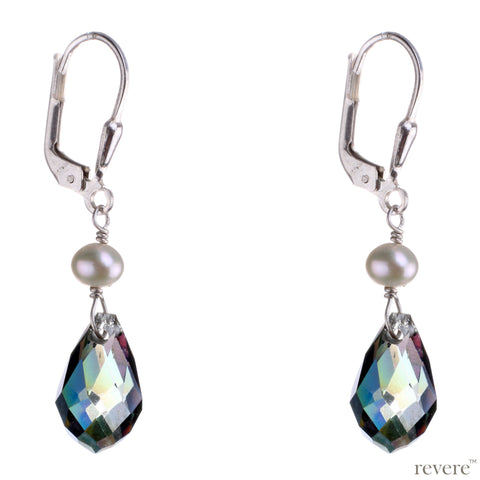Wildfire features rainbow glass crystal and pearl earrings set in sterling silver. Shines brightly when lights passes through the crystal.