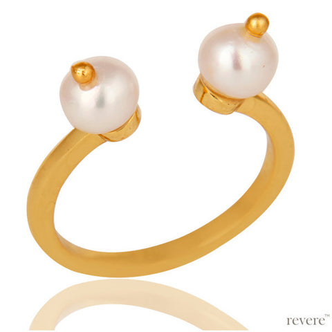Asmi Ring | Pearl | Gold Plated | Sterling Silver