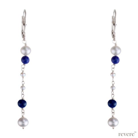 Attractive and appealing, these sterling silver earrings studded with white freshwater pearl and blue lapis lazuli to add an elegant touch in your classy attire.