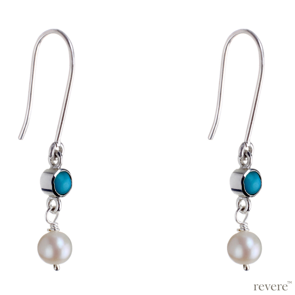 Kismet in Turkish, Urdu and Arabic means fate or destiny. These earrings feature real turquoise and white freshwater pearl set in sterling silver with rhodium plating. Simple in design and especially for believers that a pair of earrings can change your destiny!