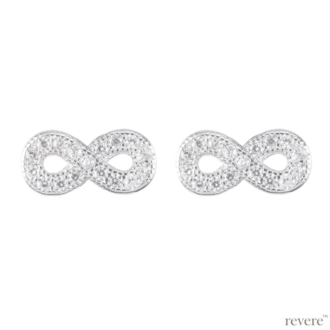 Infinity earrings feature a design which suits everything.. high quality CZ micro set in 925 sterling silver. Always relevant!