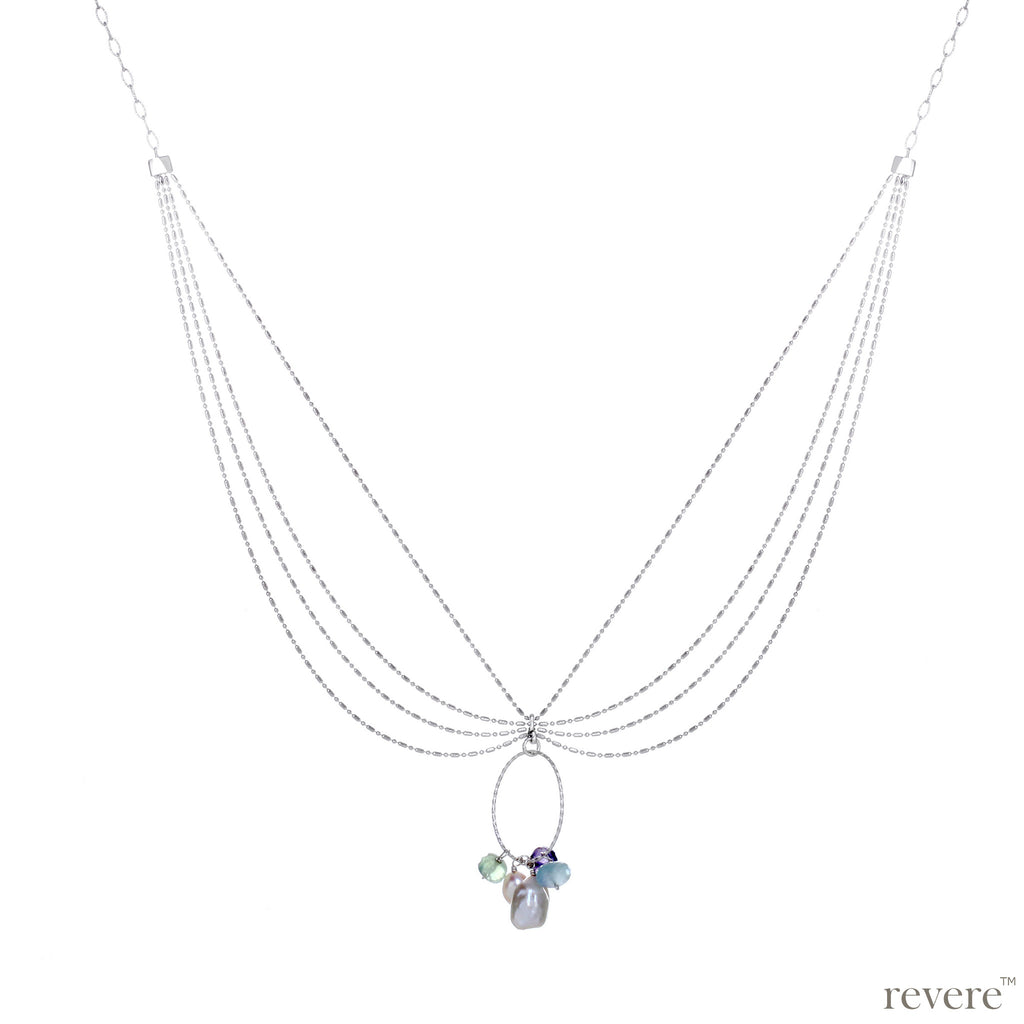 Flora necklace features drops of a plethora of gemstones elegantly decorated on 924 sterling silver with a sterling silver oval loop to show them off!