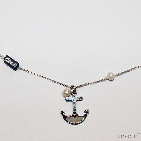 Be near the Sea always..with the Seafarer necklace featuring a hand crafted sterling silver anchor and scattered freshwater pearls and sea blu lapis lazuli gemstones on a sterling silver chain.. Instant coolness!