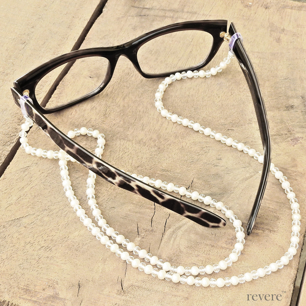 dapper white AAA grade cultured fresh water pearl with white crystal eyeglass and sunglass chain. Suitable for office wear and for evening dressing
