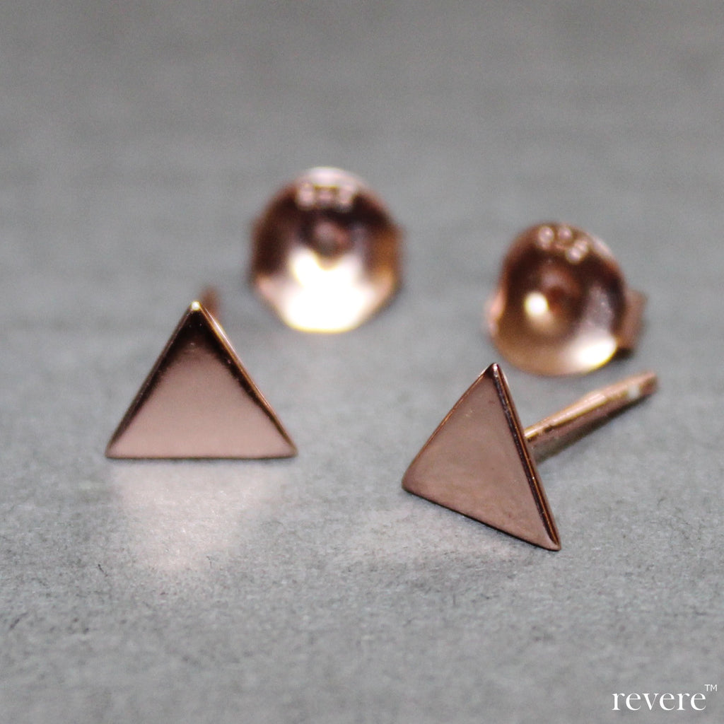 The prefect accessory in rose gold plated sterling silver in a geometrical shape to go with any outfit.