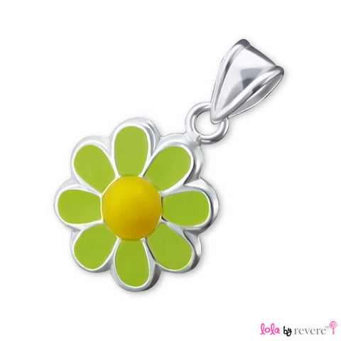 Children's silver daisy pendant delicately suspended from a string of green and yellow glass crystals with an adjustable in sterling silver.