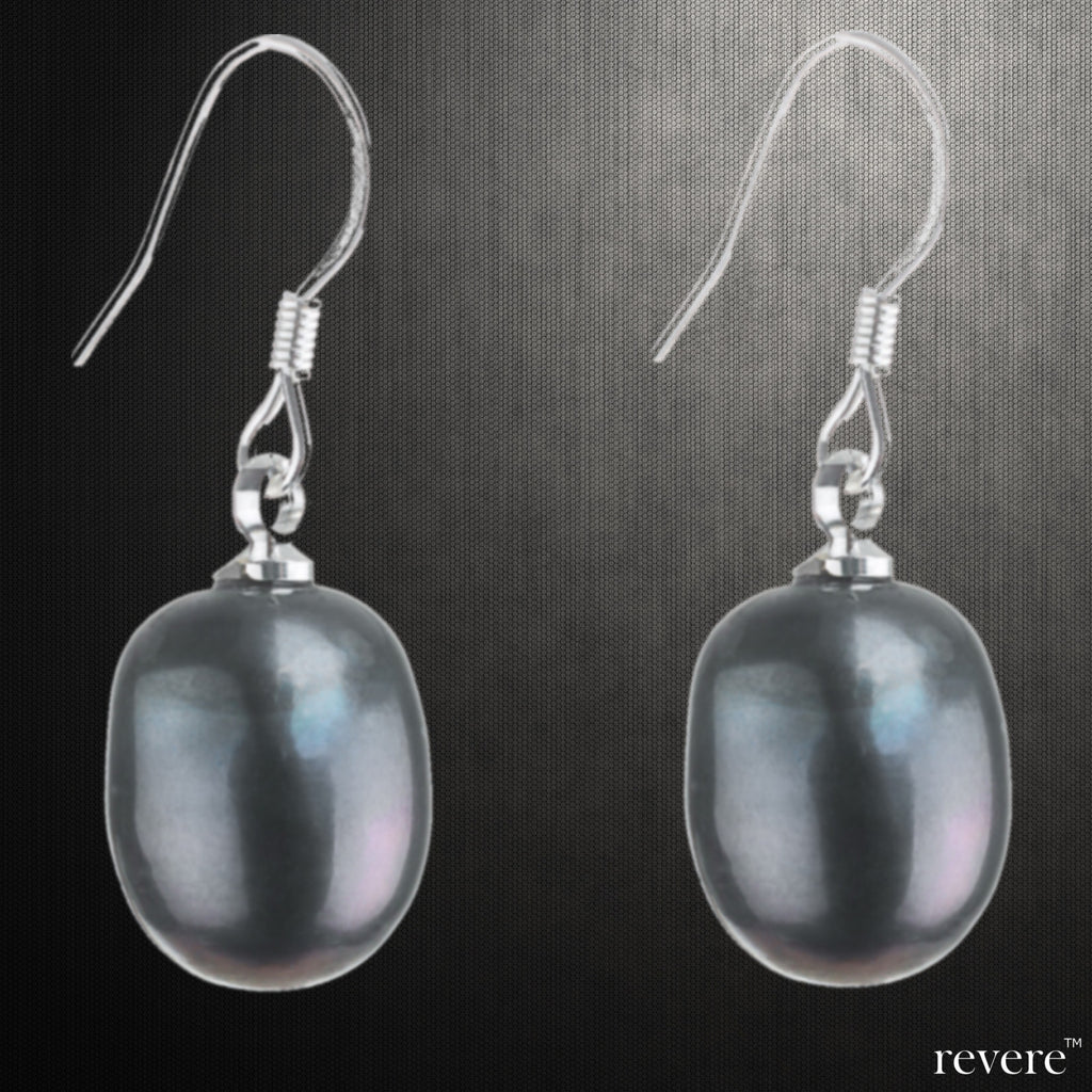 """Kiara"" features freshwater grey pearl with sterling silver. Simple, pretty and easy to wear, these pearl drop earrings go with just about everything."