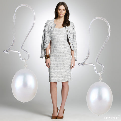 Pristine earrings feature high luster white oval fresh water pearls set in elegant sterling silver. Suitable to coordinate with corporate attire and go well with jeans and a Tee.