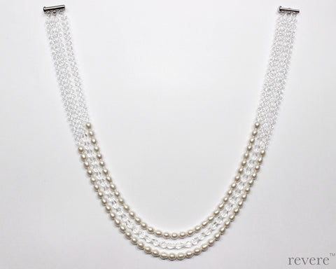 Tinsel.. a 3-strand necklace with coordinated earrings, made with exquisite soft white oval fresh water pearls and sparkling crystal beads. The perfect statement piece to make a grand entrance anywhere.. goes well with Indian and Western wear alike.