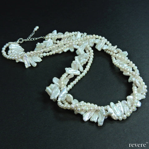 empress white AAA grade cultured fresh water biwa pearls and semi round pearls necklace, 3 string intertwined design, suitable for any formal attire, afternoons or evenings out.