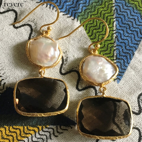 Zyama Earrings | Pearl | Topaz | Gold Plated | Sterling Silver