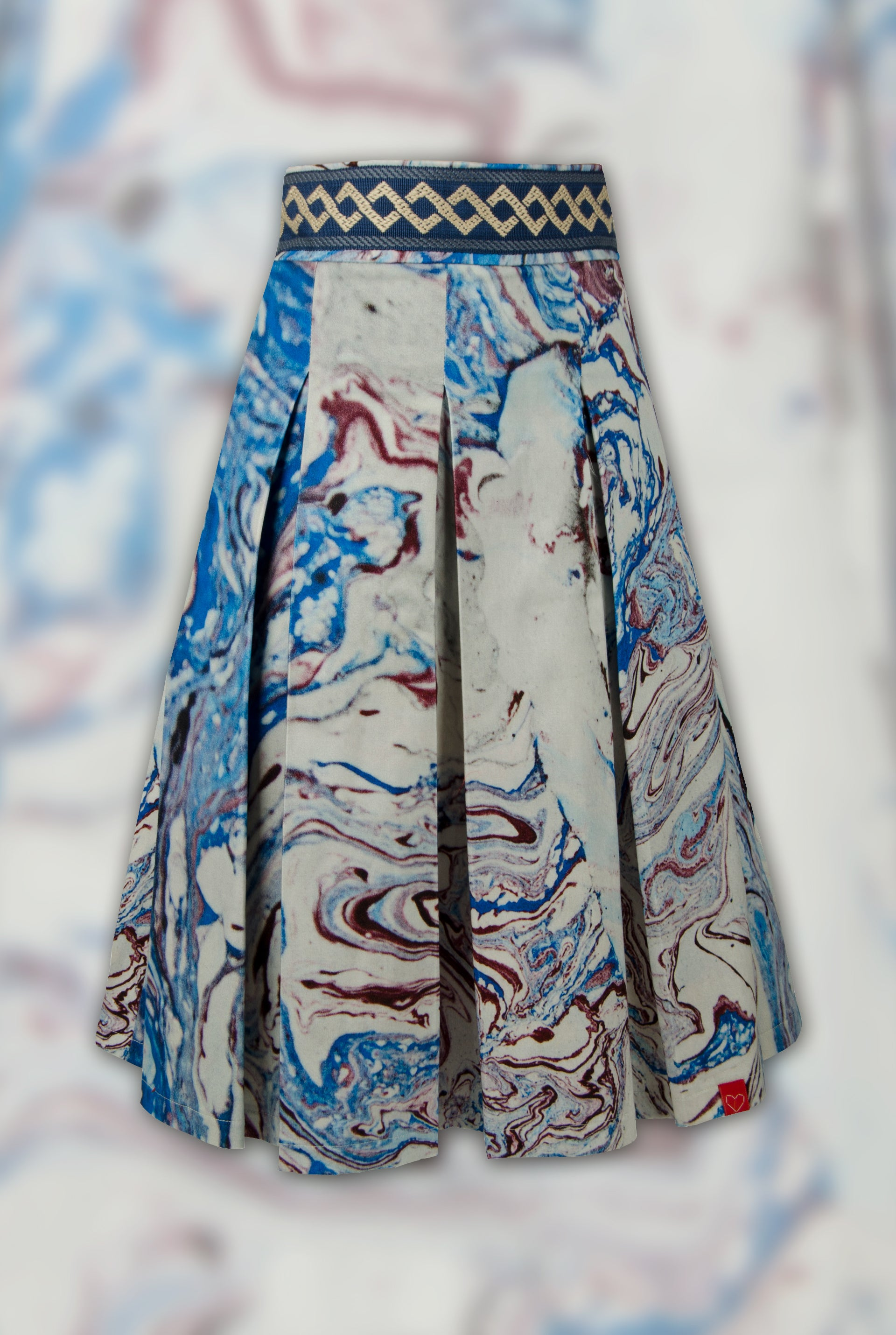 SPECIAL EDITION FRESS Marbled Blue Pleated Skirt