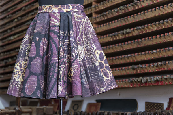 Gold Stamp Paneled Skirt