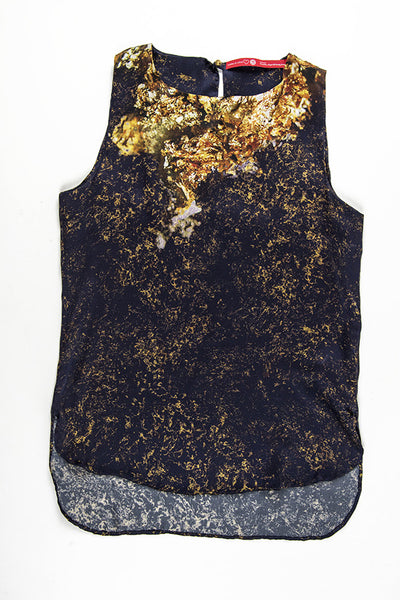 FRESS Gold over Blue Sleeveless Blouse