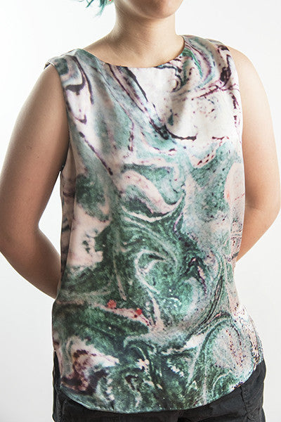 FRESS Marbled Green Sleeveless Blouse