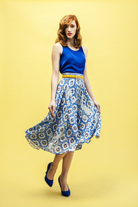 Versatile Don Quixote's Blue Full Midi Skirt