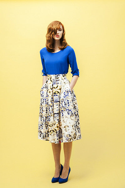 Versatile Cornfield's Yellow Pleated Skirt