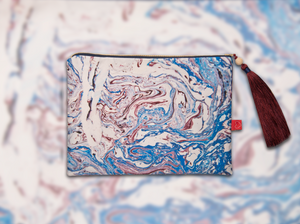 FRESS Marbled Blue Clutch with Trimmings