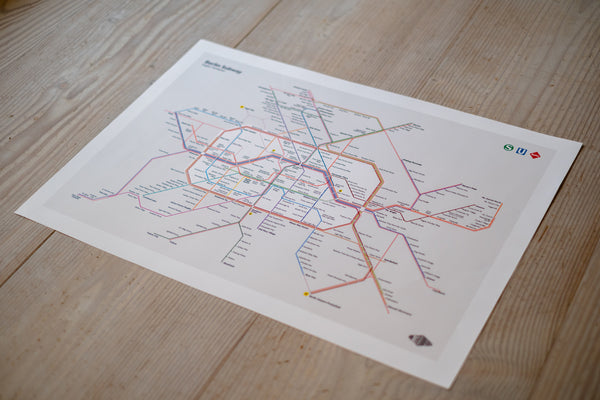 Berlin Metro Map: Literal English Translation A2 Art Poster