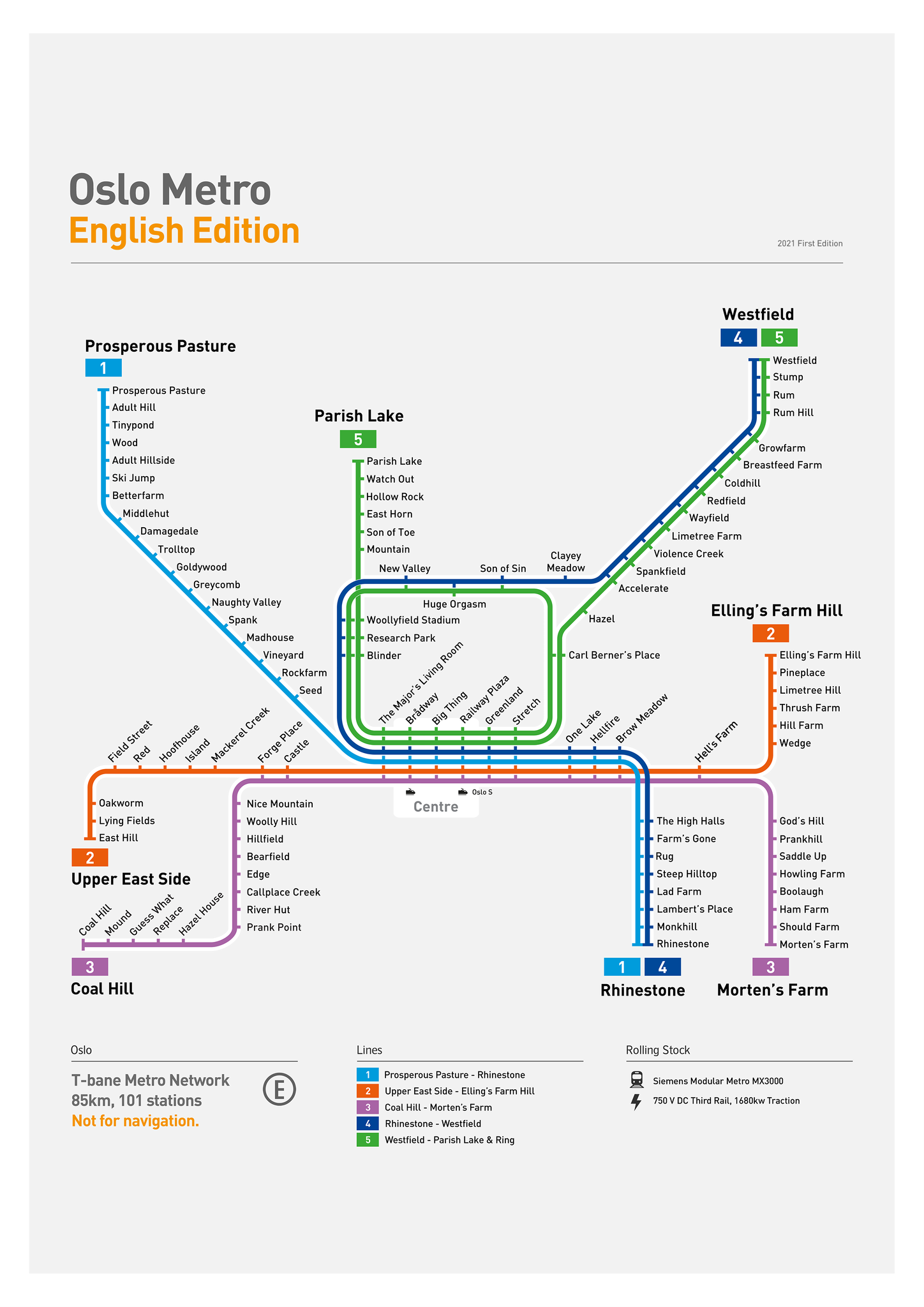 Oslo Metro Map: Literal English Translation A2 Art Poster