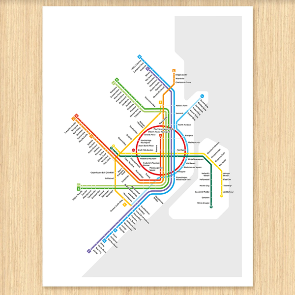 Copenhagen Metro Map: Literal English Translation A2 Art Poster