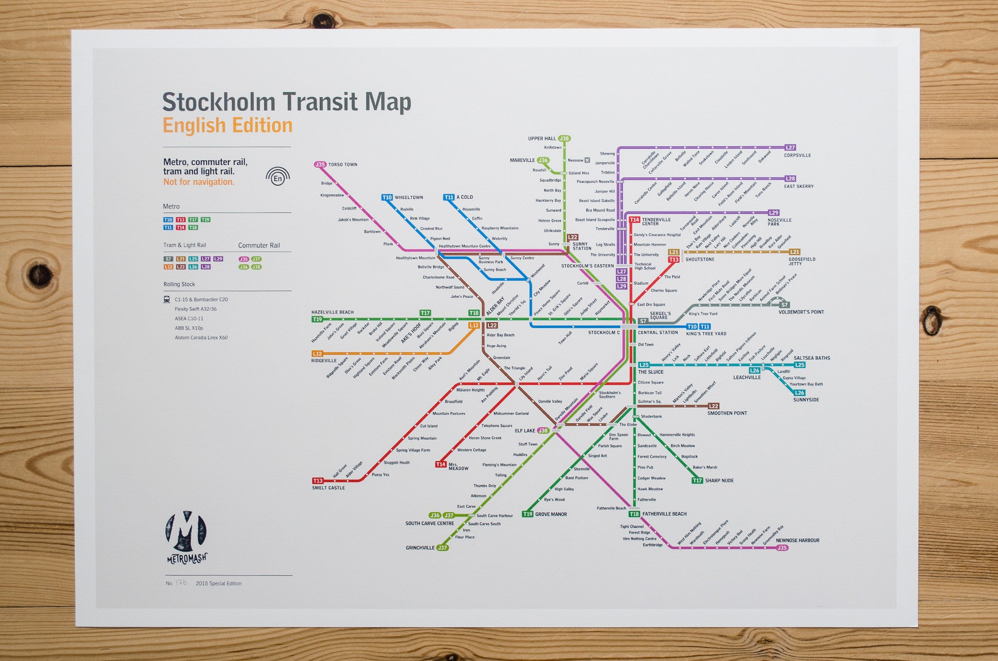 Stockholm Metro Map Literal English Translation Poster A - Sweden tunnelbana map