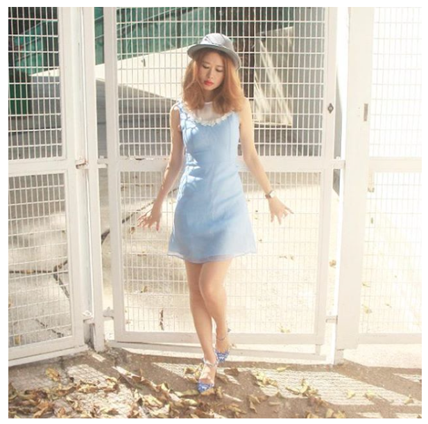 mellow mayo wo organza blue daisy mini dress
