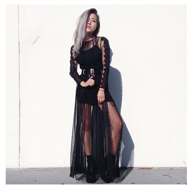 feral creature eugenie grey grunge lace black sheer maxi dress