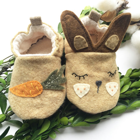 Hand Embroidered Bunny Moccasins