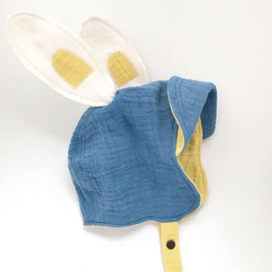 Hand Dyed Signature Organic Bonnet - Yellow/Blue