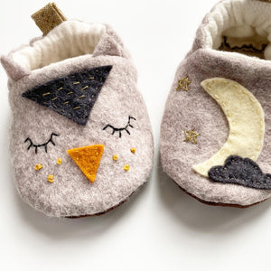 Hand Embroidered Owl Moccasins