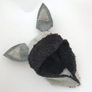 Wool & Organic Sherpa Trapper Hat - Charcoal Check