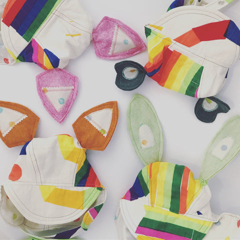 Nani Iro Rainbow Heirloom Bonnet - Bunny Ears